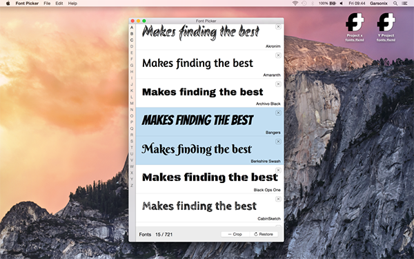 Font picker Mac版